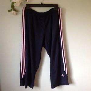 adidas Pants - Adidas Navy/Pink High Waist Cropped Sweatpants L